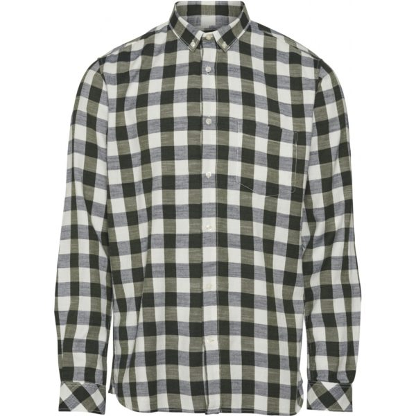 KnowledgeCotton Herren Hemd Longs Sleeve Checked Slub