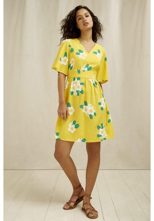 PeopleTree Damen Kleid Marina Plumeria V-Neck