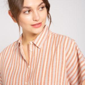 Recolution Damen Bluse Linen Blouse Stripes