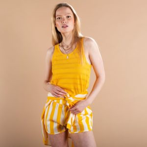 Dedicated Damen Top Nora Lace Jersey Yellow
