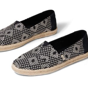 TOMS Damen Schuhe Classic Black Geometric Diamond Woven/Rope