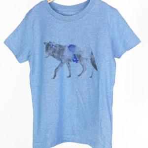 LOVEAFAIR Kinder Unisex T-Shirt Wolf-mid heather blue