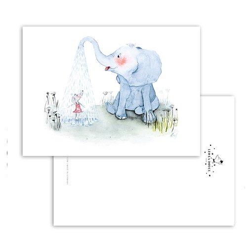 Leo La Douce Postkarte Elephant Shower