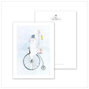 Leo La Douce Postkarte Cycling Bear