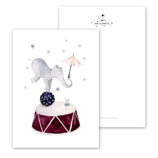 Leo La Douce Postkarte Dancing Elephant