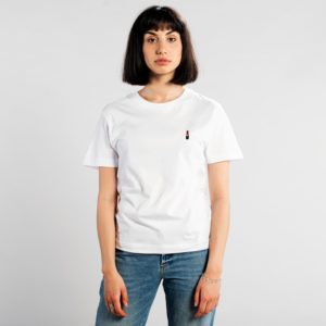 Dedicated Damen T-Shirt Mysen mit Stickerei Lipstick White