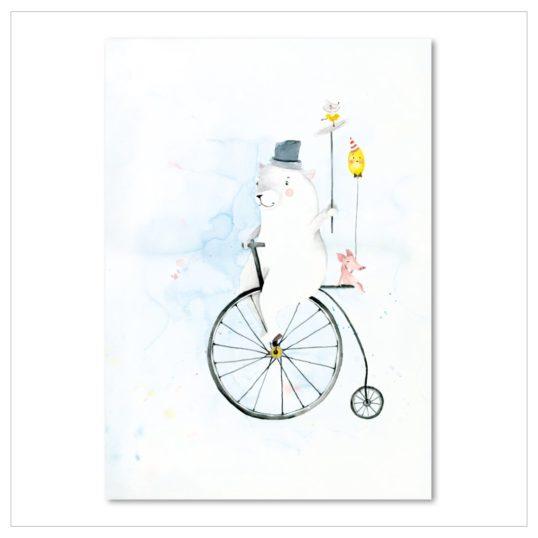 Leo La Douce Kunstdruck A4 Cycling Bear