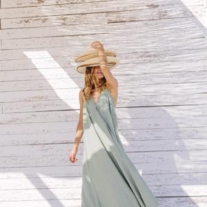 Suite 13 Damen Kleid Daphne Long Onesize Cotton/Linen Iceberg Green