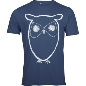 Knowledge Cotton Herren T-Shirt Owl Print 10184 in versch. Farben