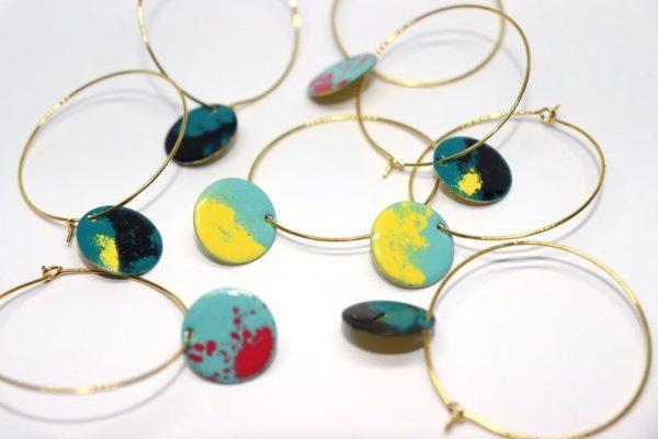 Creole Messing / Anhänger Kreis versch. Farben