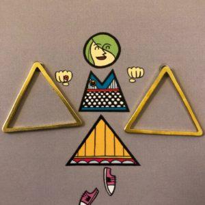 Ohrstecker Geometrie / Dreieck Groß Messing