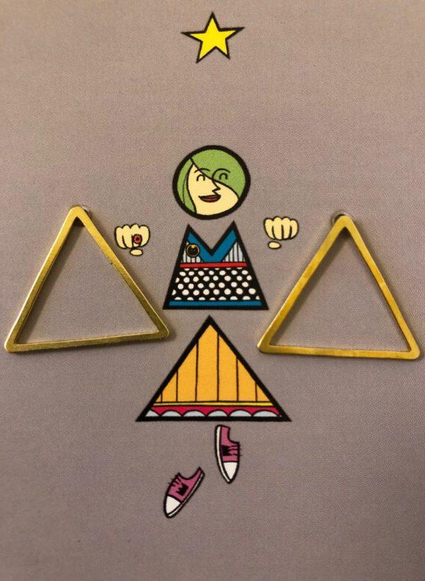Ohrstecker Dreieck Groß Messing