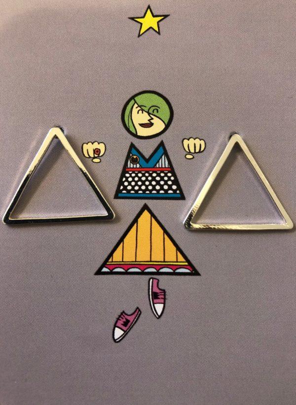 Ohrstecker Geometrie / Dreieck Groß Versilbert