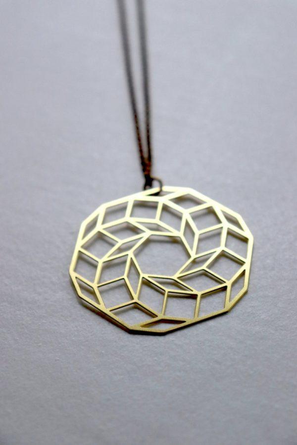 Kette Messing geometrisch Würfel eco