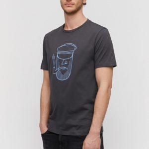 Armedangels Herren T-Shirt Jaames Sailor Face Acid Black