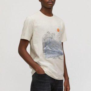 Armedangels Herren T-Shirt Jaames Big Wave white sand