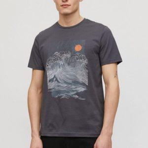 Armedangels Herren T-Shirt Jaames Big Wave acid black
