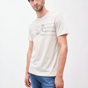 Armedangels Herren T-Shirt Jaames Smooth Bike white sand