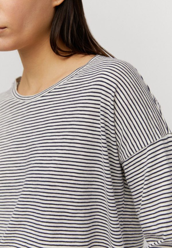 Armedangels Damen Longsleeve Siaa Pretty Stripes night sky-off white