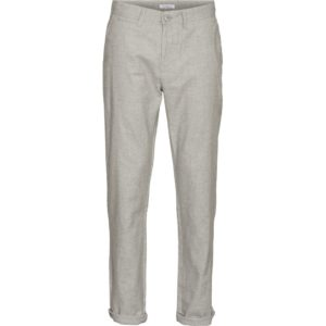 KnowledgeCotton Herren Hose Chuck regular linen 70261 grey melange