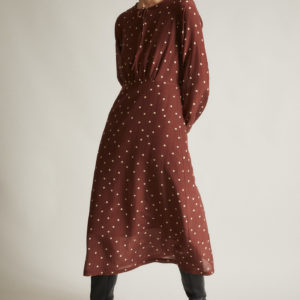 Lanius Damen Kleid mit Schnürung pretty dots chocolade