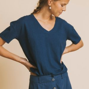 Thinking Mu Damen T-Shirt Chloe Blue Hemp