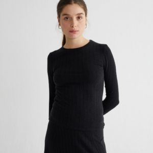 Thinking Mu Damen Longsleeve Black Trash Alpan