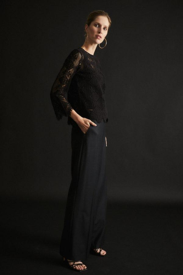 Lanius Damen Hose Marlene aus Bio-Schurwolle black