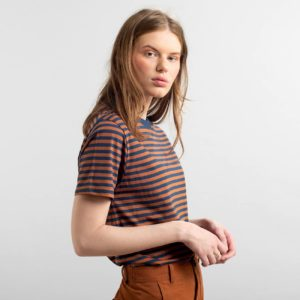 Dedicated Damen T-Shirt Mysen Stripes Mocha Brown