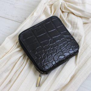 O My Bag Sonny Square Wallet Croco Black