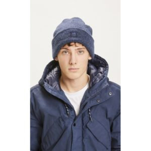 KnowledgeCotton Herren Mütze Beanie Original Wool 82206 Dark Denim