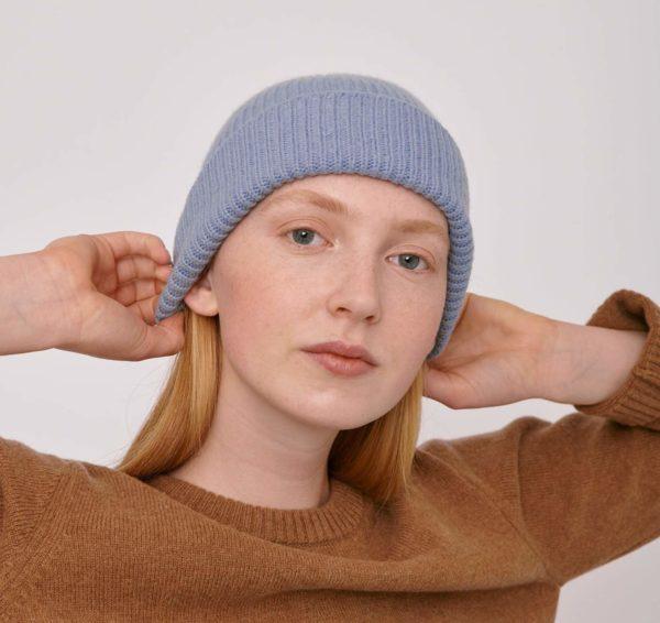 Organicbasics Unisex Recycled Wool Beanie Light Blue
