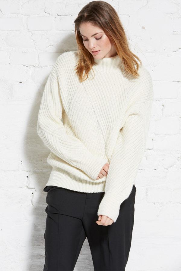 Wunderwerk Damen Pullover Boyfriend Turtleneck Rhombs warm white