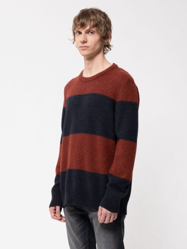 Nudie Jeans Herren Pullover Hampus Alpaca Block Stripe navy