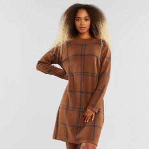 Dedicated Damen Kleid Lo Big Check Brown