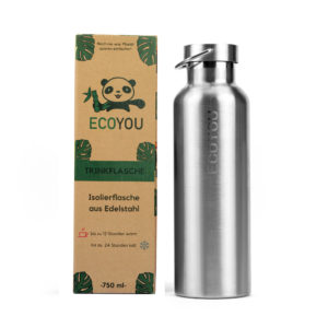 Edelstahl Trinkflasche 750 ml Isolierflasche Thermosflasche – Silber
