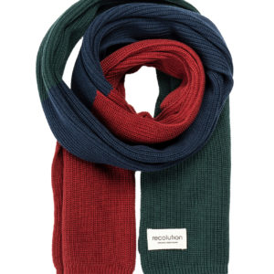 Recolution Knit Scarf Tricolor warm orange/navy/green