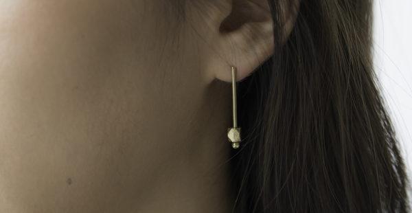 Ting Goods Ohrstecker Brass Beads eckig Messing