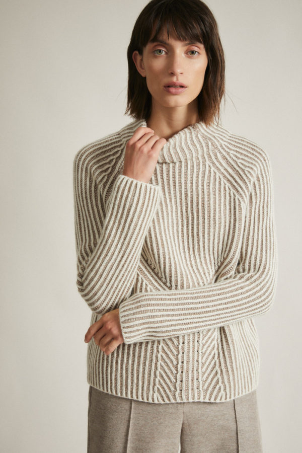Lanius Damen Pullover Rippenpullover zweifarbig