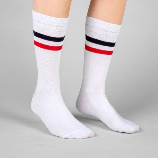 Dedicated Unisex Socken Sigtuna Double Stripes white