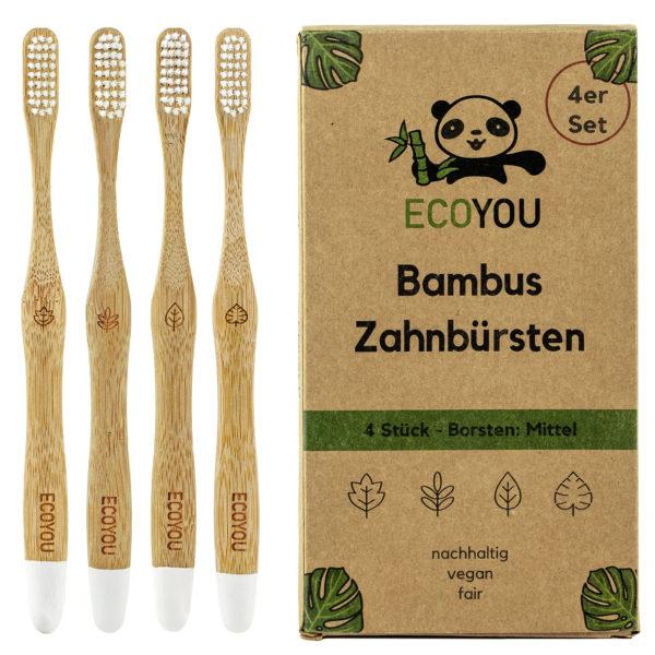 ECOYOU Bambus Zahnbürsten 4er Set