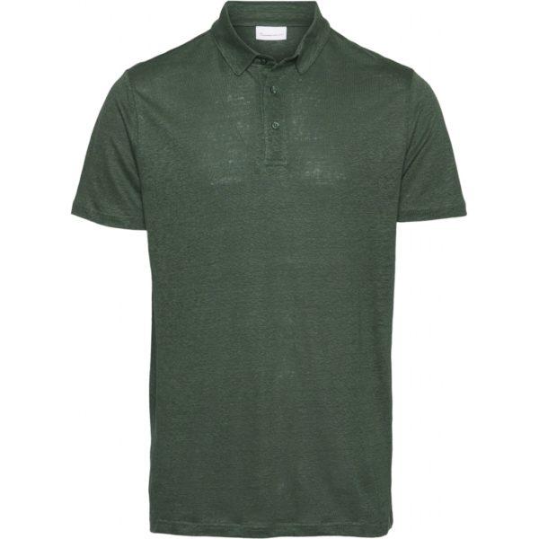 KnowledgeCotton Herren T-Shirt Rowan linen polo 20084 Pineneedle