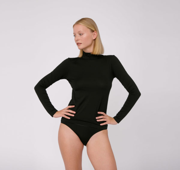Organicbasics Damen Longsleeve Lite Turtleneck black