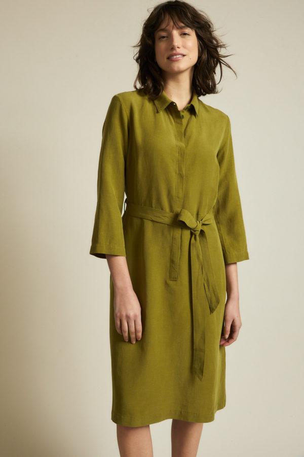 Lanius Damen Hemdblusen Kleid olive
