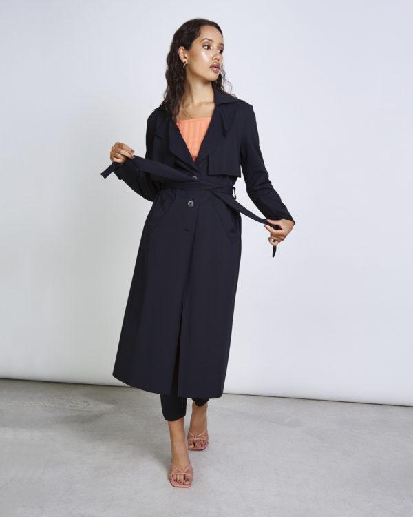Jan`N Jun Damen Mantel Trench Coat Lotic Neopren Black