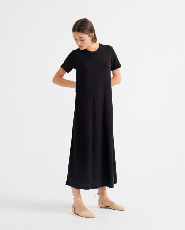 Thinking Mu Damen Kleid Oueme Black Hemp
