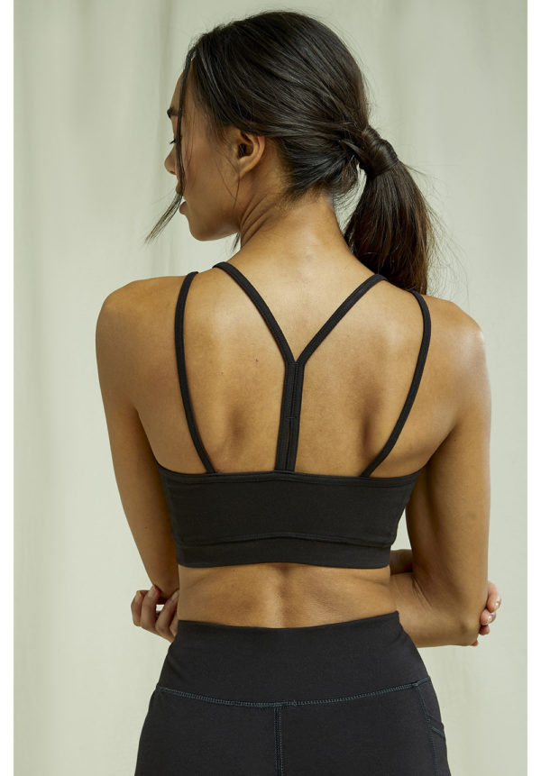 People Tree Damen Yoga Y-Back Crop Top black