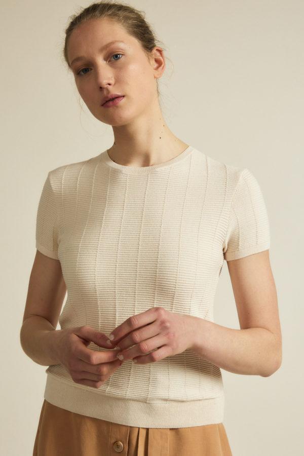Lanius Damen Pullover Struktur Kurzarn powder