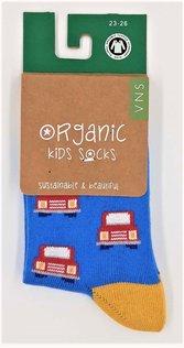 VNS Organic Kinder Socken 1555 Cars Red/Blue
