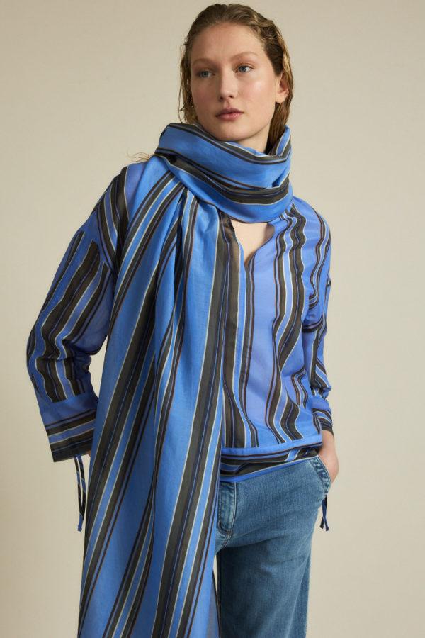 Lanius Schal Print Stripe horizon stripe blue